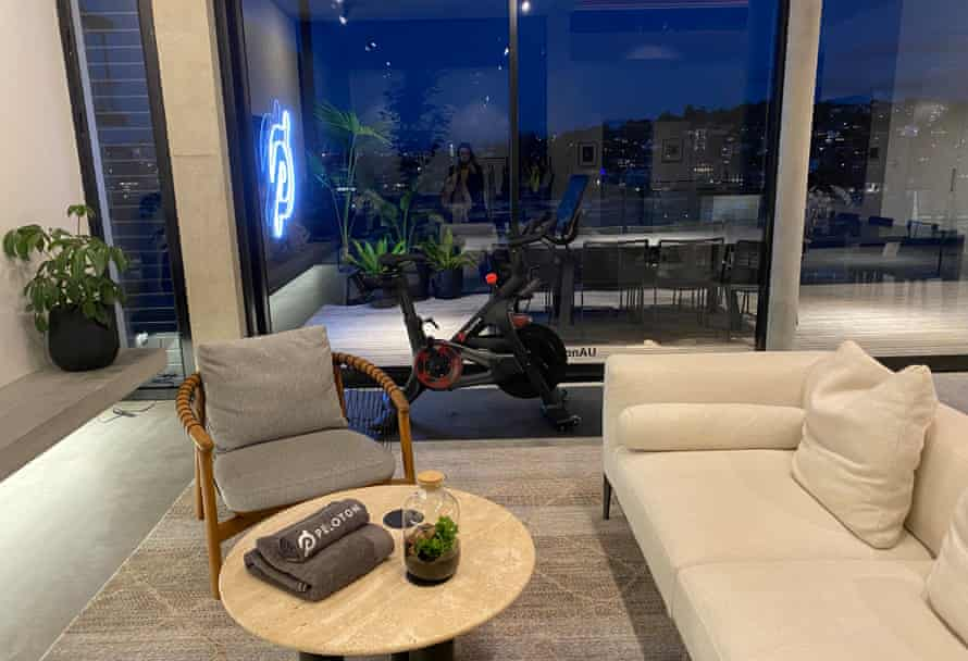 A living room set up in the 'Peloton Beach House' in Sydney's Darling Point