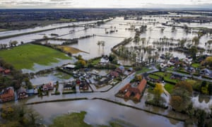 Flood water covers roads in the Fishlake area of Doncaster, South Yorkshire