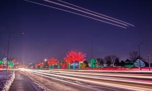 Lights trails on road
