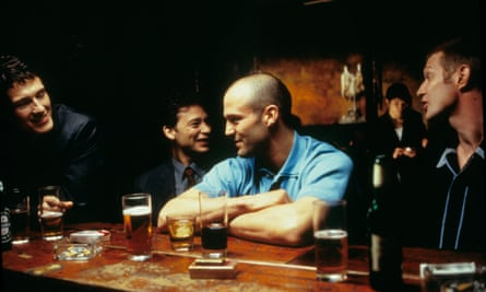 Nick Moran, Dexter Fletcher, Jason Statham and Jason Flemyng in Lock Stock and Two Smoking Barrels.