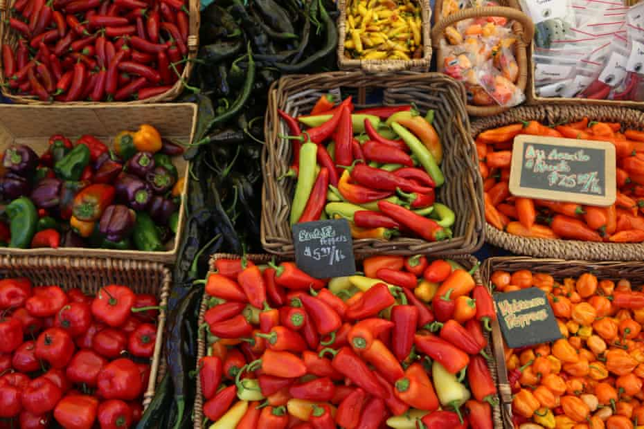 Peppers are for sale at the San Francisco Ferry building farmers' market.