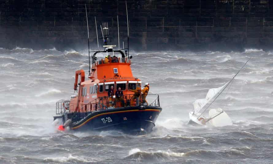 Tynemouth lifeboat comes to the rescue of a small boat on the river Tyne