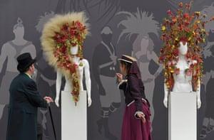 Floral headwear on display