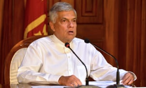 Sri Lankan Prime Minister Ranil Wickremesinghe speaks during a press conference in Colombo on April 21, 2019.