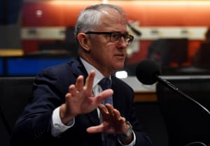 Prime Minister Malcolm Turnbull doing a radio interview