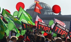 balloons and banners in Berlin, with the Reichstag in the background