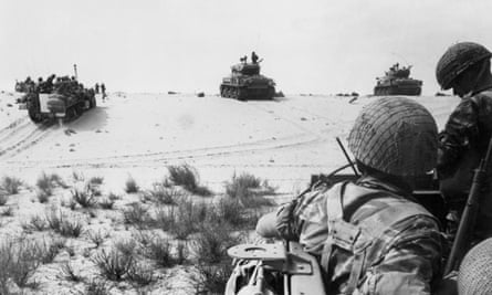 Israeli armoured forces in action in the Sinai Desert, 5 June 1967.
