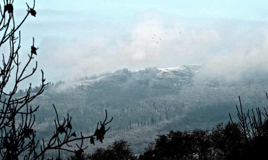 The Wrekin in mist from Wenlock Edge.