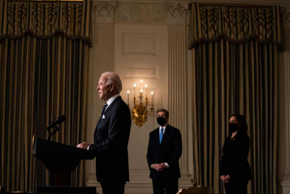 Joe Biden speaks about climate change in the State Dining Room of the White House on Wednesday.