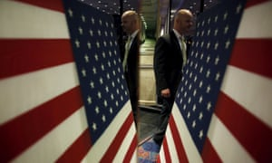 A US Secret Service agent is reflected in a mirror at a campaign rally in Reno, Nevada, earlier this year