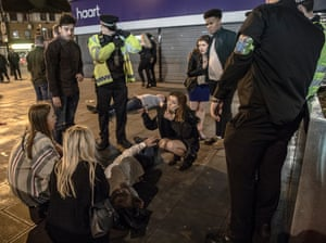 A young man who had been asked to leave the centre earlier in the evening later found uncouncious after getting in a fight and hitting his head on the pavement