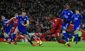 Naby Keïta is brought down in the area by Ricardo Pereira, but Martin Atkinson waves play on.