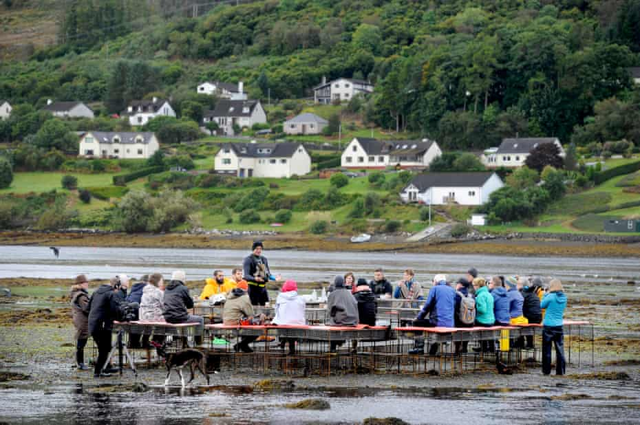 Communal education ... the oyster table installation on Skye.