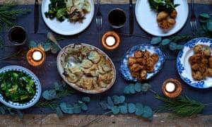 Christmas Eve stuffed dumplings and salt cod bake.