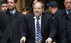 Harvey Weinstein departs a New York court during his ongoing sexual assault trial.