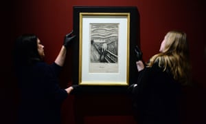 Art handlers during the installation of Edvard Munch's The Scream, at the British Museum in London