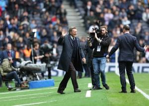 Glenn Hoddle acknowledges the fans during half-time.