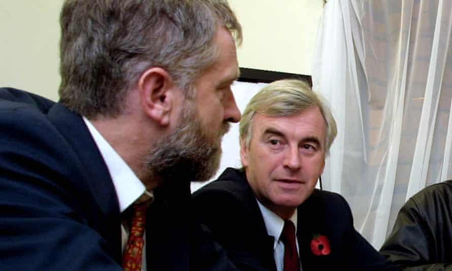 Jeremy Corbyn with John McDonnell in 2001.