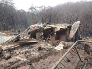The remnants of Nina Jongen's 32-year-old mud brick family home at Nymboida
