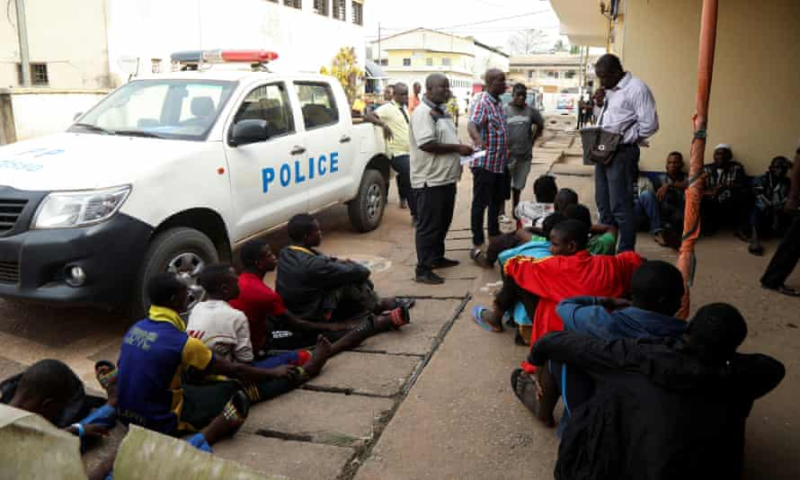 Police checks during an operation to rescue children from child traffickers