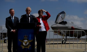 Defence industry minister Christopher Pyne, prime minister Malcolm Turnbull and defence minister Marise Payne.