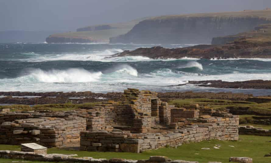 Ruins on Orkney, Scotland, with a view to the tidal Brough of Birsay.