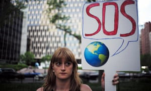 A demonstration against Trump's decision to pull out of the landmark climate change deal, which the president announced in June.