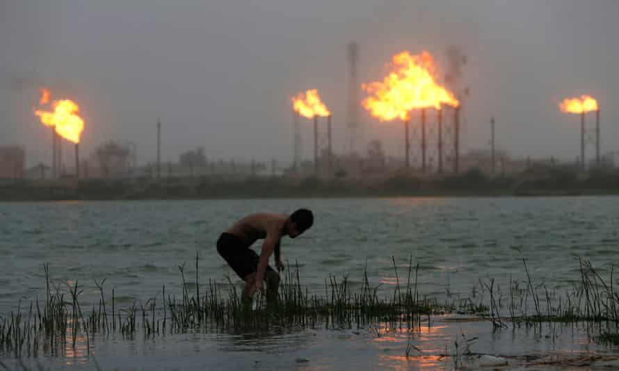 Oil refineries along the Shatt al-Arab river in Basra, Iraq, 2020