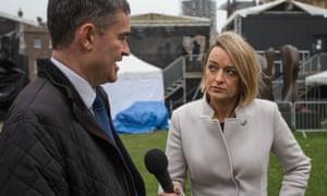 BBC political editor Laura Kuenssberg interviews Tory MP David Gauke on College Green, Westminster.