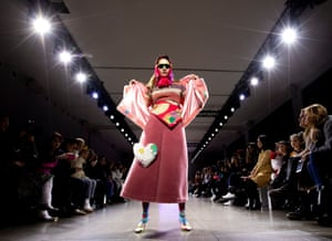 New York, US. A model on the runway at the Leaf Xia show at fashion week