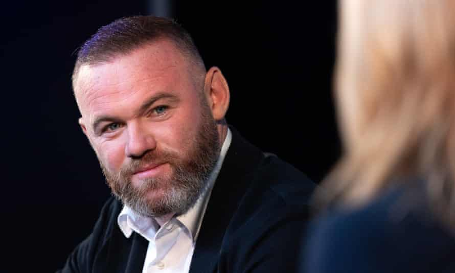 Wayne Rooney speaking with Gabby Logan in London on Tuesday as the new documentary on his career 'Rooney' was discussed.
