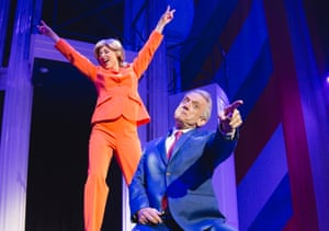 Lisa Adam as Hillary Rodham Clinton and Simon Burke as the positively presidential Bill Clinton in Clinton The Musical.