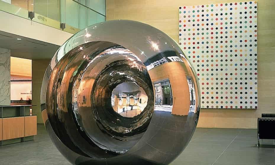 Deutsche Bank London reception featuring artwork by Anish Kapoor and Damien Hirst.