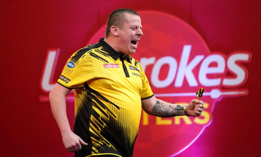 Dave Chisnall during the Ladbrokes Masters  tournament at the Marshall Arena, Milton Keynes.