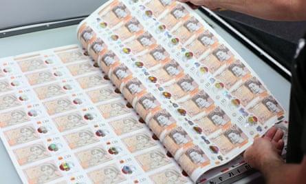 Sheet of £10 banknotes