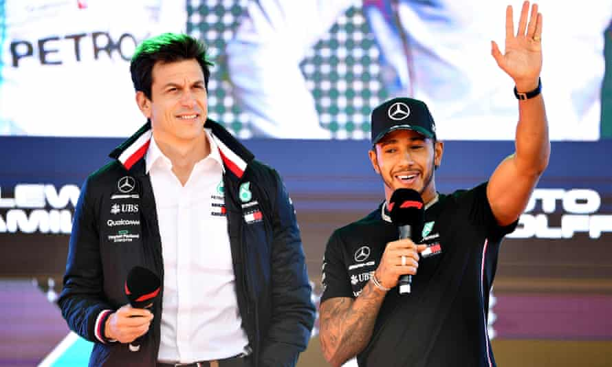 Lewis Hamilton with Toto Wolff, the Mercedes team principal