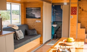 Inside, a lounge area in the Truck Surf Hotel.