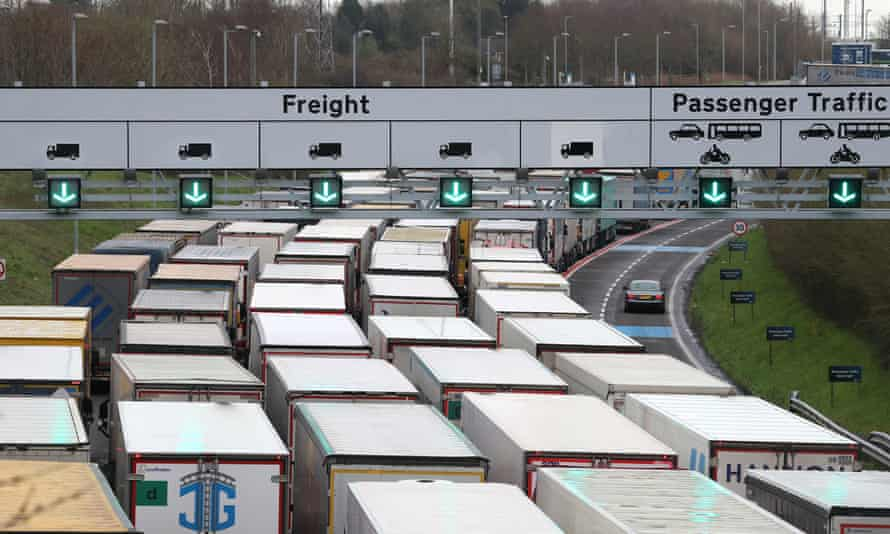 Lorries queue to enter the Eurotunnel site in Folkestone, Kent, on Friday.