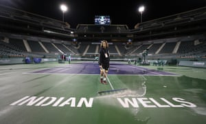 The centre court at Indian Wells is cleaned, and will see no action over the next fortnight after the BNP Paribas Open was cancelled.