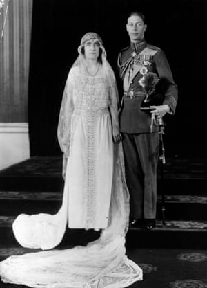 Lady Elizabeth Bowes-Lyon and the Duke of York (George VI) on their wedding day, 26 April 1923