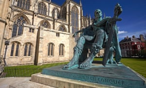 The statue of Constantine the Great outside York Minster was the centre of a media storm based on false rumours.