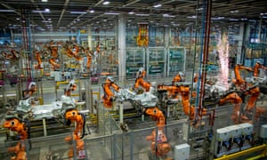 Robots on Mini production line