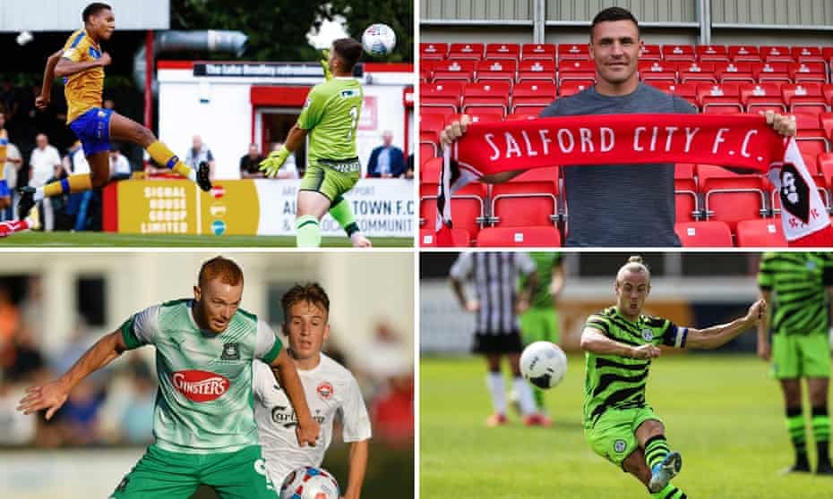 Clockwise from top left: Alistair Smith scores for Mansfield; Kyle Letheren joins Salford; Joseph Mills of Forest Green; and Plymouth's Ryan Taylor.