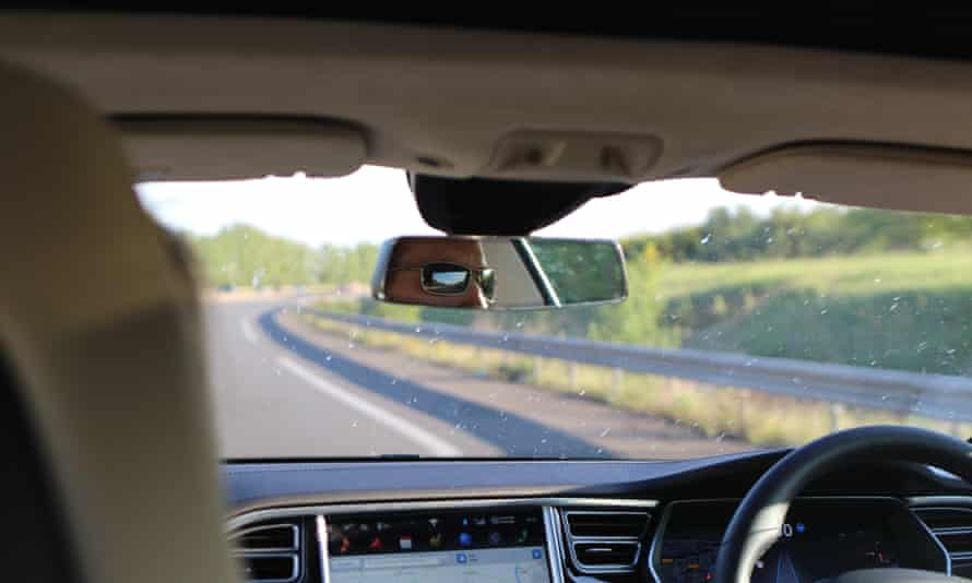 view through the windscreen of the tesla model s