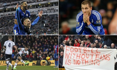 Leicester City's Riyad Mahrez and Jamie Vardy celebrate, Eden Hazard looks dejected, Liverpool fans protest against ticket prices and Spurs' Dele Alli scores a wonder goal against Crystal Palace.
