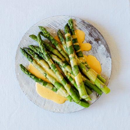 Anna Tobias' early-summer supper: asparagus and hollandaise sauce.