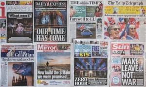 British national newspaper front pages on 1 February 2020, the morning after the UK exited from the European Union.