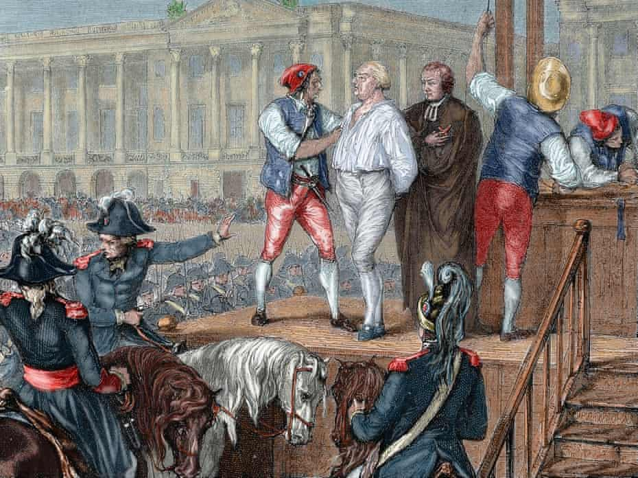 The execution of King Louis XVI in 1793, during the French Revolution.