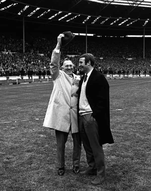 Manchester City manager Joe Mercer (left), raises his hat with Malcolm Allison, the coach, after victory over Leicester in the 1969 FA Cup final.