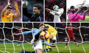 Clockwise from top left: Wolves' Raúl Jiménez; Spurs manager Mauricio Pochettino; Fulham flop André-Frank Zambo Anguissa; Liverpool goalkeeper Alisson; and the moment that decided the title race?